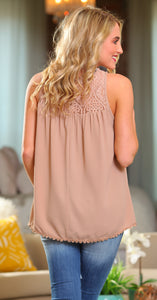 BLISSFUL THINKING CROCHET LACE TUNIC TOP-TAUPE - Infinity Raine