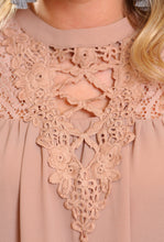 Load image into Gallery viewer, BLISSFUL THINKING CROCHET LACE TUNIC TOP-TAUPE - Infinity Raine