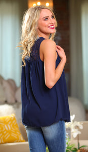 BLISSFUL THINKING CROCHET LACE TUNIC TOP-NAVY - Infinity Raine