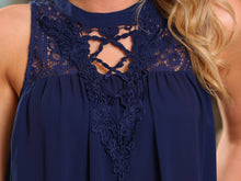 Load image into Gallery viewer, BLISSFUL THINKING CROCHET LACE TUNIC TOP-NAVY - Infinity Raine