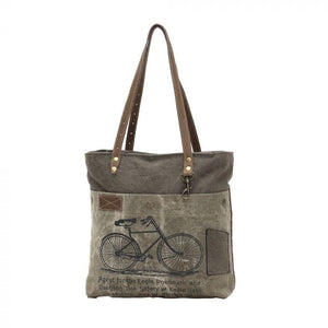 BY-CYCLE PRINT CANVAS TOTE BAG (GREEN) - Infinity Raine
