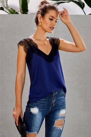 STAY WITH ME LACE CAMI TOP-BLUE - Infinity Raine