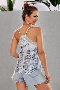A TOUCH OF LACE CAMI-SNAKE PRINT-BLACK/WHITE/TAUPE - Infinity Raine