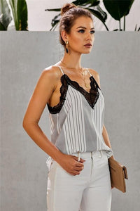 A TOUCH OF LACE CAMI-STRIPE WHITE/BLACK - Infinity Raine