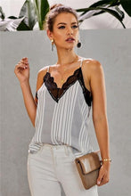 Load image into Gallery viewer, A TOUCH OF LACE CAMI-STRIPE WHITE/BLACK - Infinity Raine