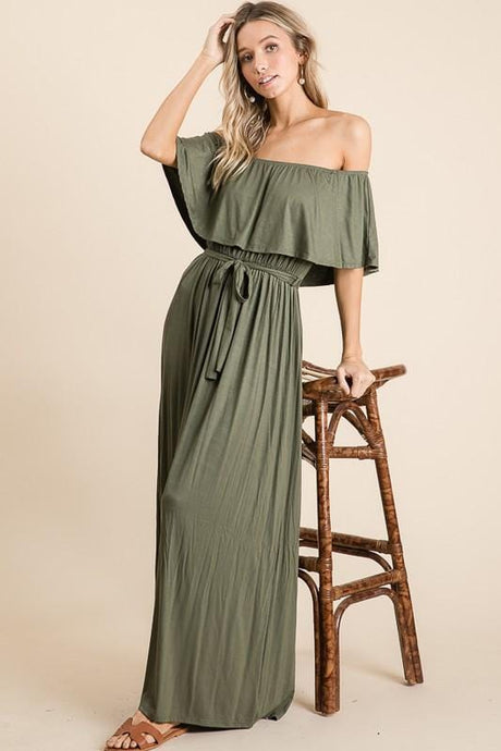 MAKING HEADLINES OFF SHOULDER MAXI DRESS-OLIVE - Infinity Raine