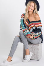 Load image into Gallery viewer, SPLASH OF COLOR WAFFLE KNIT TOP-NAVY/JADE - Infinity Raine