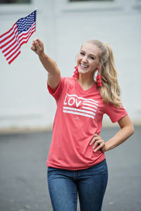 SWEET LAND OF LIBERTY FLAG LOVE TEE-RED - Infinity Raine