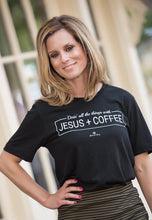 Load image into Gallery viewer, JESUS & COFFEE CREW NECK TEE-BLACK - Infinity Raine
