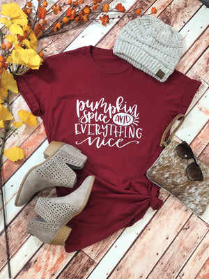 PUMPKIN SPICE AND EVERYTHING NICE TEE-CARDINAL - Infinity Raine