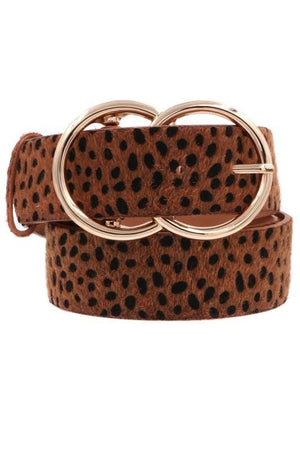 Never Extra Enough Double Buckle Animal Print Belt-Cognac - Infinity Raine