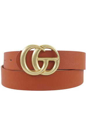 On The Run Classic Faux Leather Belt-Cognac - Infinity Raine