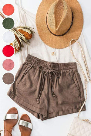 Summer Sun Tan Drawstring Shorts-Mocha - Infinity Raine