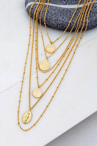 SENSE OF SELF 6 LAYER COIN CHARM NECKLACE-GOLD - Infinity Raine