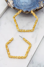 Load image into Gallery viewer, EVERLASTING BLISS PENTAGON TEXTURED HOOP EARRINGS-GOLD - Infinity Raine