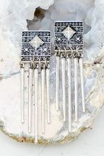 Load image into Gallery viewer, STOP THE SHOW BOHO ETCHED SQUARE DROP EARRINGS-SILVER - Infinity Raine