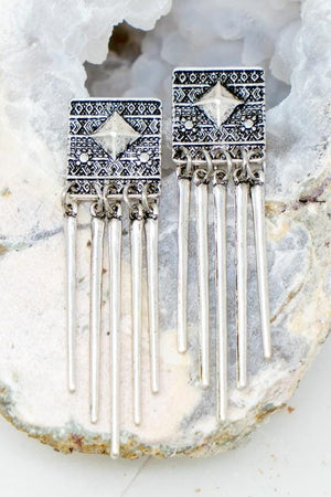 STOP THE SHOW BOHO ETCHED SQUARE DROP EARRINGS-SILVER - Infinity Raine