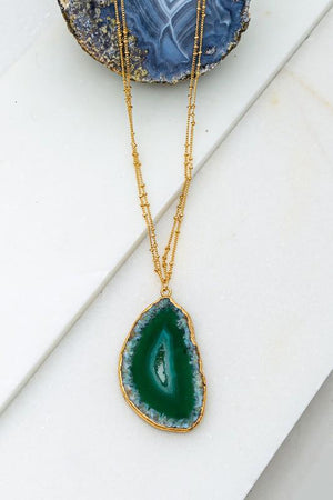BEAUTY WITHIN NATURAL STONE DOUBLE CHAIN NECKLACE-EMERALD GREEN - Infinity Raine