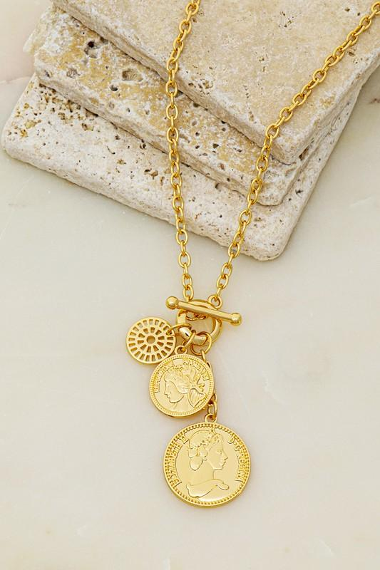 MOST OF THE TIME COIN CHARM CLUSTER NECKLACE-GOLD - Infinity Raine