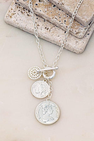 MOST OF THE TIME COIN CHARM CLUSTER NECKLACE-SILVER - Infinity Raine