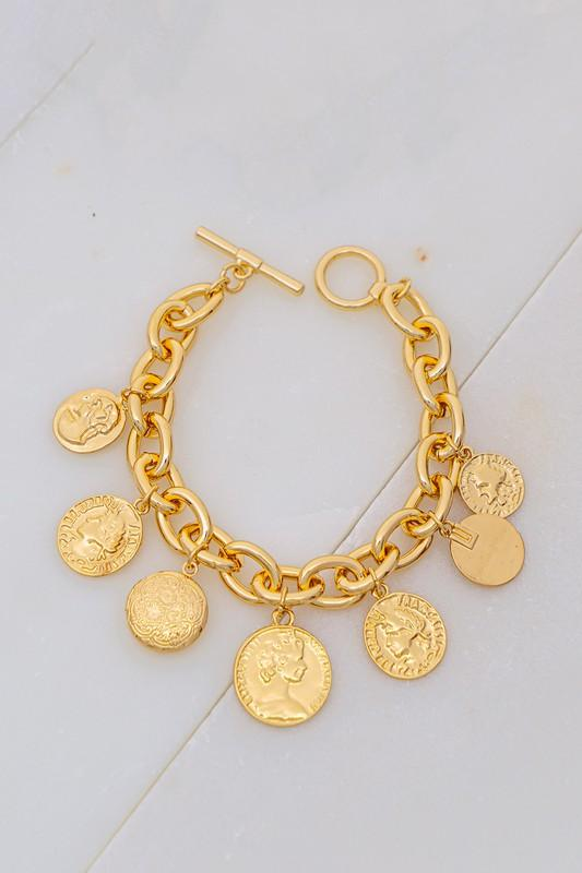CHARMED AND DANGEROUS COIN CHARM BRACELET-GOLD - Infinity Raine