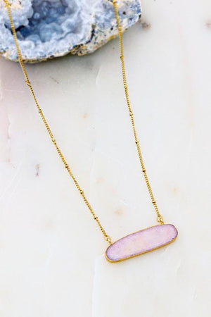 LOOK NO FURTHER OVAL NATURAL STONE WRAPPED NECKLACE-PINK - Infinity Raine