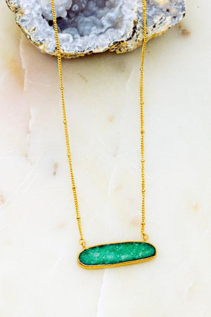 LOOK NO FURTHER OVAL NATURAL STONE WRAPPED NECKLACE-GREEN - Infinity Raine
