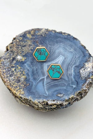 ITS A STAPLE GOLD RIMMED HEXAGON STUD EARRINGS-TURQUOISE - Infinity Raine