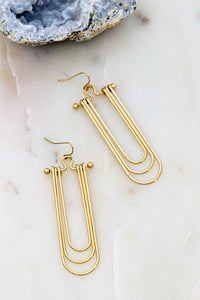 A RARE GEM U SHAPE WIRE DROP EARRINGS-GOLD - Infinity Raine