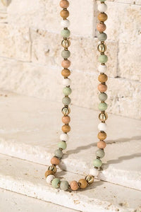 JUST MY STYLE WOOD/METAL BEAD ACCENT LONG NECKLACE-LIGHT MULTI - Infinity Raine