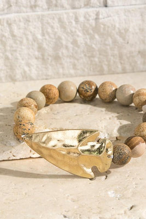 WHERE IT BEGINS HAMMERED ARROW STONE BRACELET-PICTURE JASPER - Infinity Raine