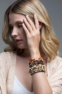 RUN THE WORLD ASSORTED MIXED BEADS MULTI LAYERED STRETCH BRACELET-BROWN - Infinity Raine