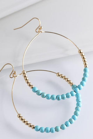 AROUND YOU GO NATURAL STONE/METAL BEAD HOOP EARRINGS-TURQUOISE - Infinity Raine