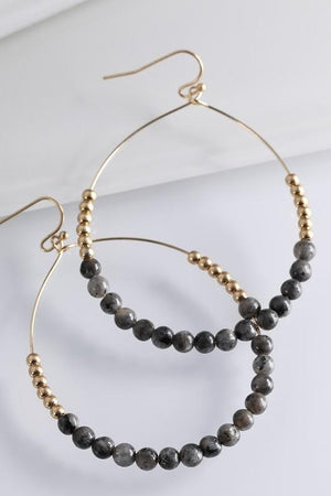 AROUND YOU GO NATURAL STONE/METAL BEAD HOOP EARRINGS-CRAZY JASPER - Infinity Raine
