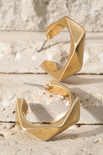 Load image into Gallery viewer, EVERLASTING GOLD  POLYGON POST HOOP EARRINGS-GOLD - Infinity Raine