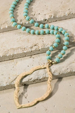 EVERYBODY'S FAVORITE OPEN MOROCCAN PENDANT NECKLACE-MINT - Infinity Raine