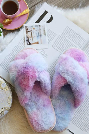 GET COZY FLUFFY TIE DYE SLIPPERS-PURPLE - Infinity Raine
