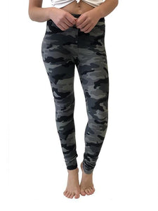 LOOK AT ME NOW CAMO LEGGINGS- CHARCOAL - Infinity Raine