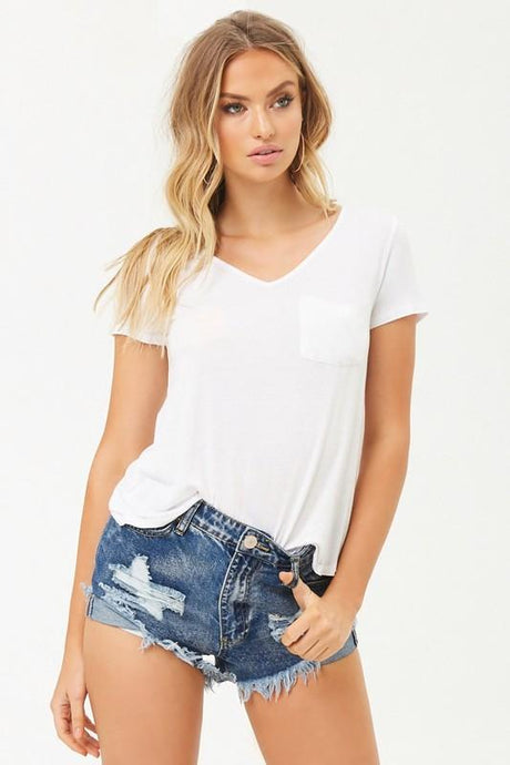 EVERYWHERE YOU GO V-NECK TOP- WHITE - Infinity Raine