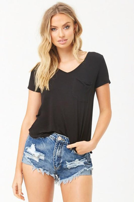 EVERYWHERE YOU GO V-NECK TOP- BLACK - Infinity Raine