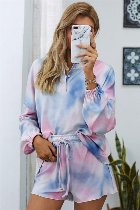 YOU GOT THIS TIE DYE SWEATSHIRT AND SHORTS SET-BLUE - Infinity Raine