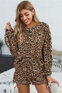 SET YOU STRAIGHT LEOPARD SWEATSHIRT AND SHORTS SET - Infinity Raine