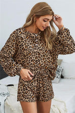 Load image into Gallery viewer, SET YOU STRAIGHT LEOPARD SWEATSHIRT AND SHORTS SET - Infinity Raine