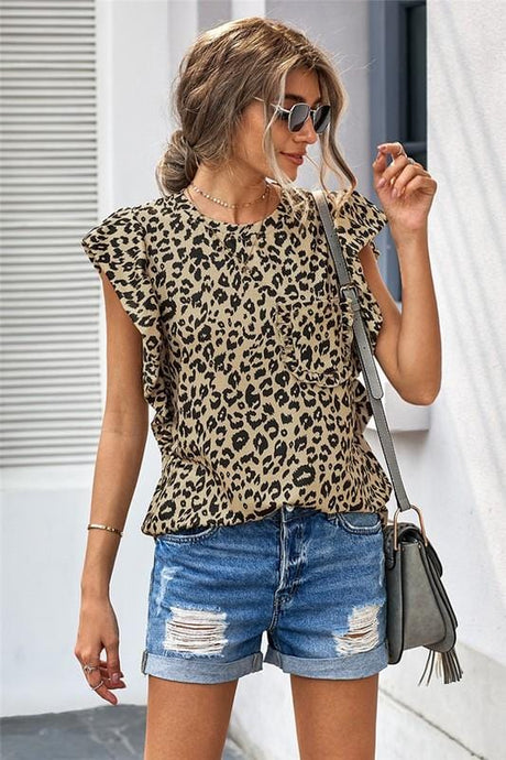 ALL THE FRILLS RUFFLE SLEEVE LEOPARD PRINT TOP - Infinity Raine