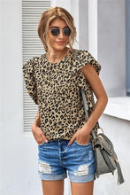 Load image into Gallery viewer, ALL THE FRILLS RUFFLE SLEEVE LEOPARD PRINT TOP - Infinity Raine