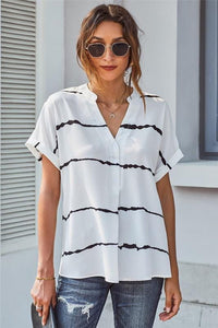 READ BETWEEN THE LINES STRIPED V-NECK BLOUSE - Infinity Raine