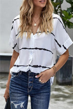 Load image into Gallery viewer, READ BETWEEN THE LINES STRIPED V-NECK BLOUSE - Infinity Raine