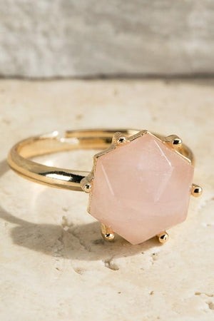 TREASURE JEWELS ADJUSTABLE RING-ROSE QUARTZ - Infinity Raine
