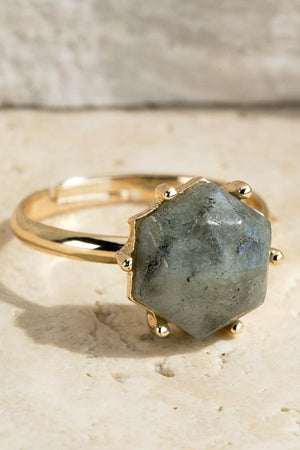 TREASURE JEWELS ADJUSTABLE RING-LABRADORITE - Infinity Raine