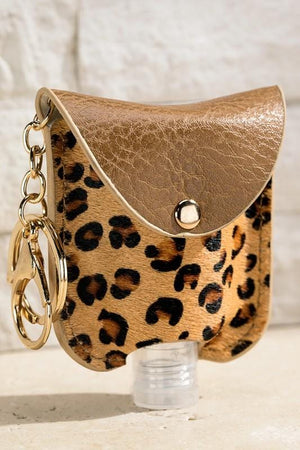 CUTE AND CLEAN HAND SANITIZER KEY CHAIN HOLDER-LEOPARD - Infinity Raine